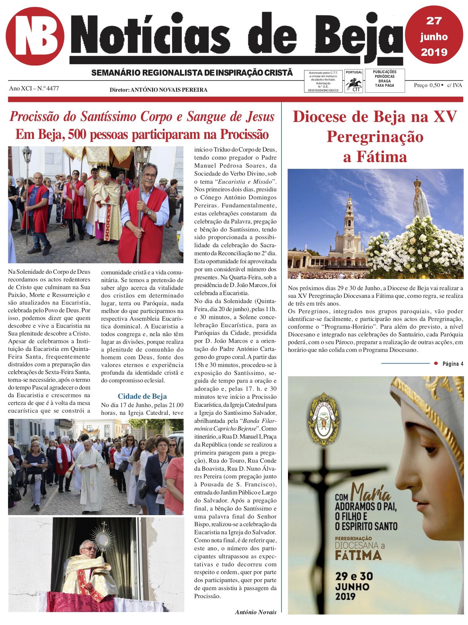 Jornal Notícias de Beja de 27 de Junho de 2019