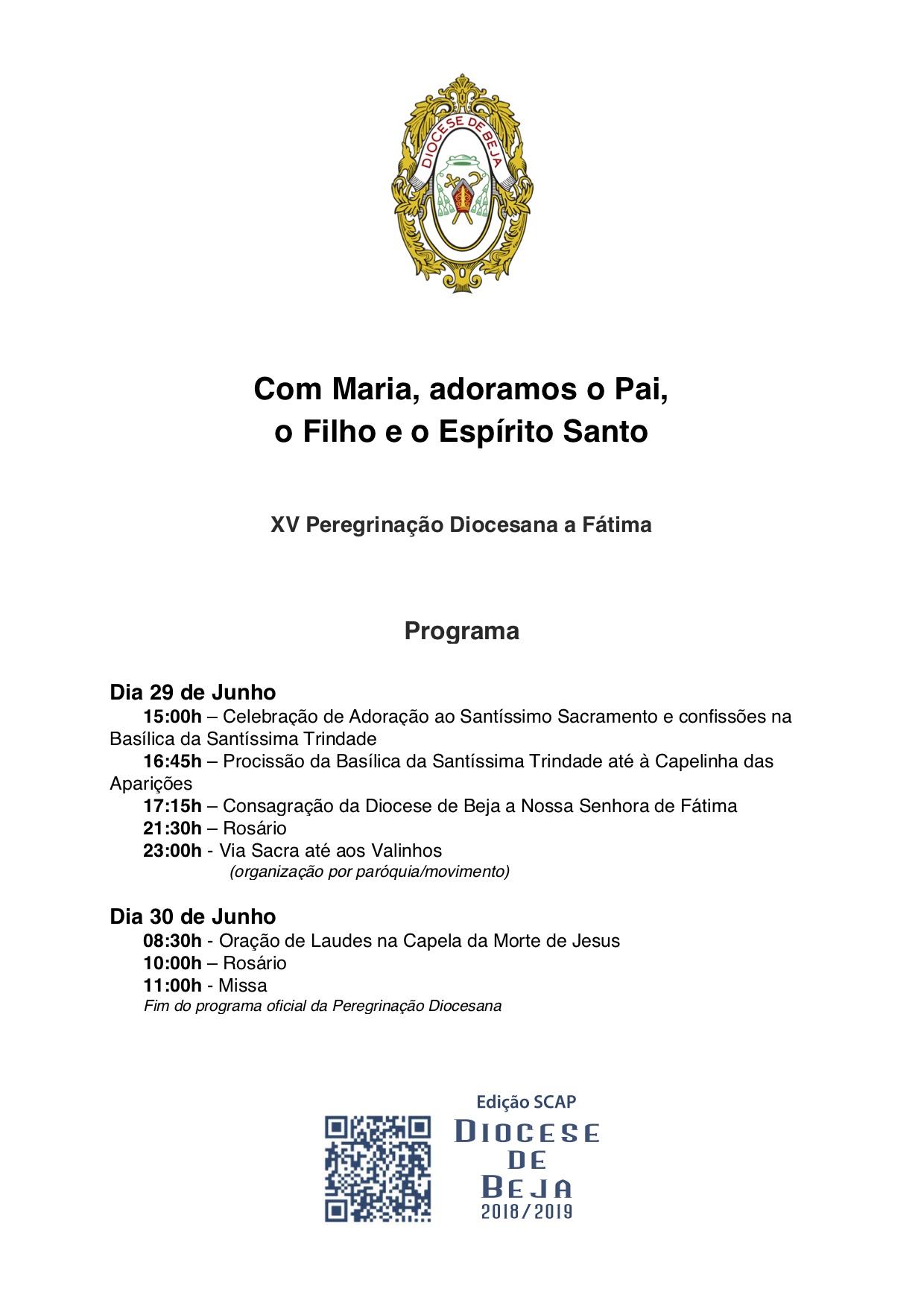 Programa da Peregrinação Diocesana a Fátima