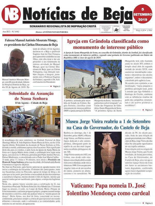 Jornal Notícias de Beja de 05 de Setembro de 2019