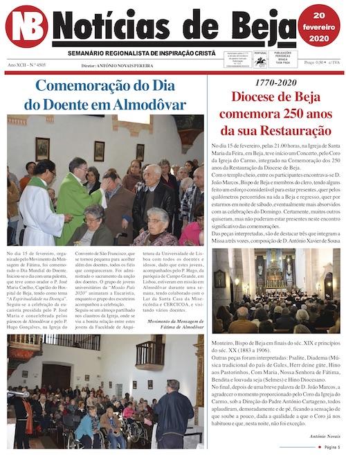 Jornal Notícias de Beja de 20 de Fevereiro de 2020