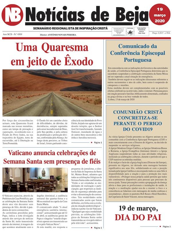 Jornal Notícias de Beja de 19 de Março de 2020